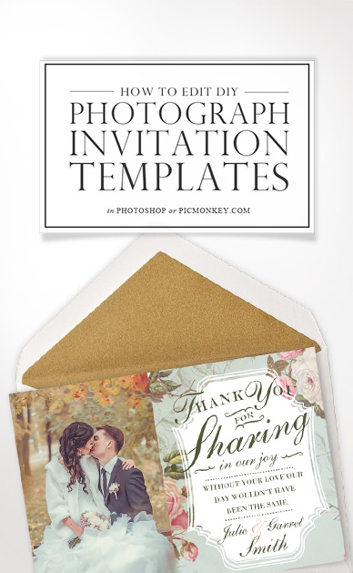 How to edit photograph invitation templates
