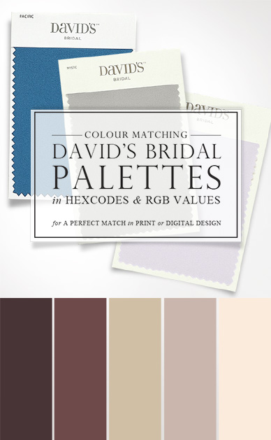 Davids Bridal Color Palette Matching Hexcodes and RGB